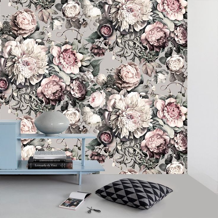 Dark Floral II Gray Vinyl Wallcovering Grey floral