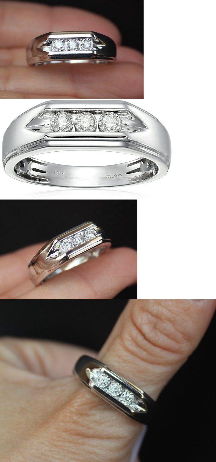 Rings 137856: New 10k Sz 105 Mens Natural Diamond 3 Stone Wedding Band Ring  White