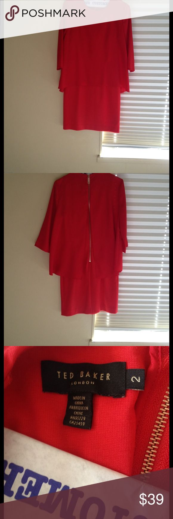Ted Baker Red Dress : teds size 2 Excellent used condition just back from dry cleaner. Teds Size 2! Check their size chart on their website. Ted Baker Dresses