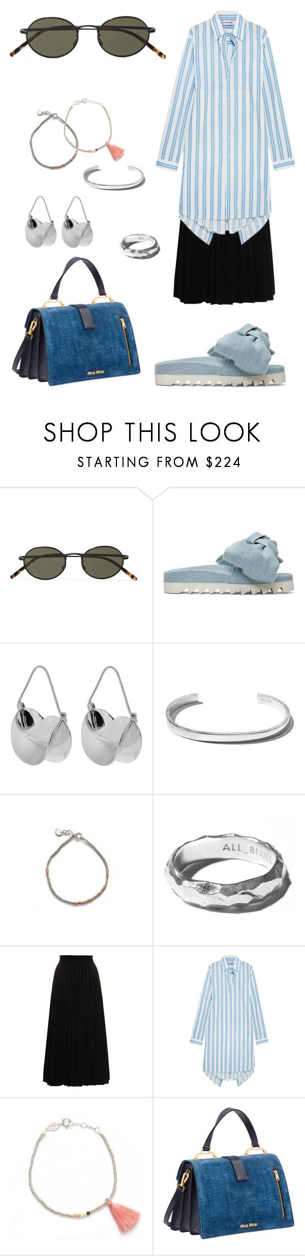 """""""Slide sandal"""" by ulrikkelysbeck ❤ liked on Polyvore featuring Oliver Peoples, Joshua's, Anissa Kermiche, Yves Saint Laurent, Balenciaga and Miu Miu"""