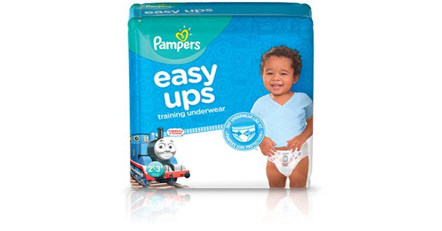 Pampers Easy Ups Trainers for boys help with potty training. Available now at Pampers.com.#PampersEasyUps
