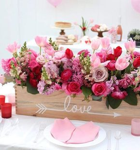 Valentine Floral Arrangements In Wooden Box Full Of Love
