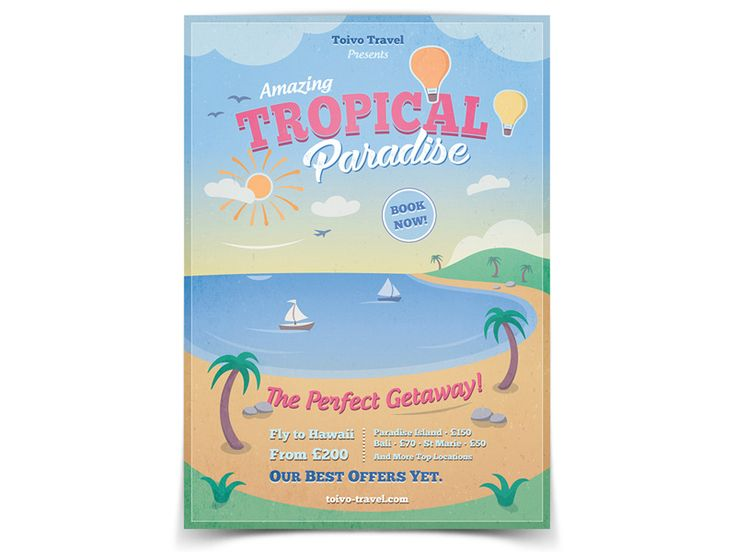 Tropical Paradise Flyer Template - buy it here: https://graphicriver.net/item/tropical-paradise-flyer/19747785?ref=ToivoMedia