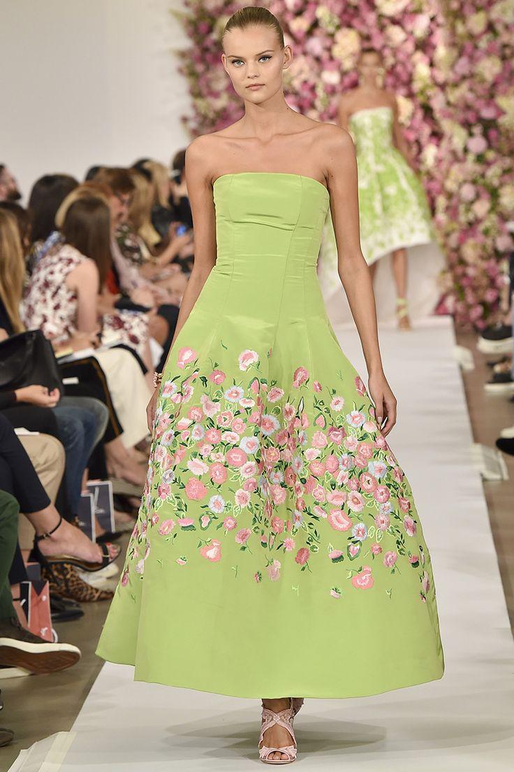 Oscar de la Renta Spring 2015 RTW Green dress with light pink flowers at the bottom Fashion Trends 2015