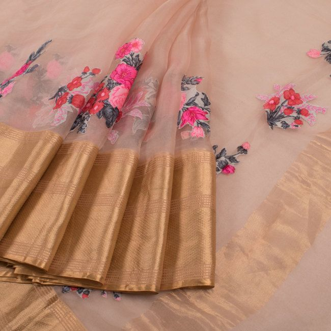 Buy online Applique Work Embroidered Peach Organza Fancy Saree With Floral Motifs & Zari Border 10013249