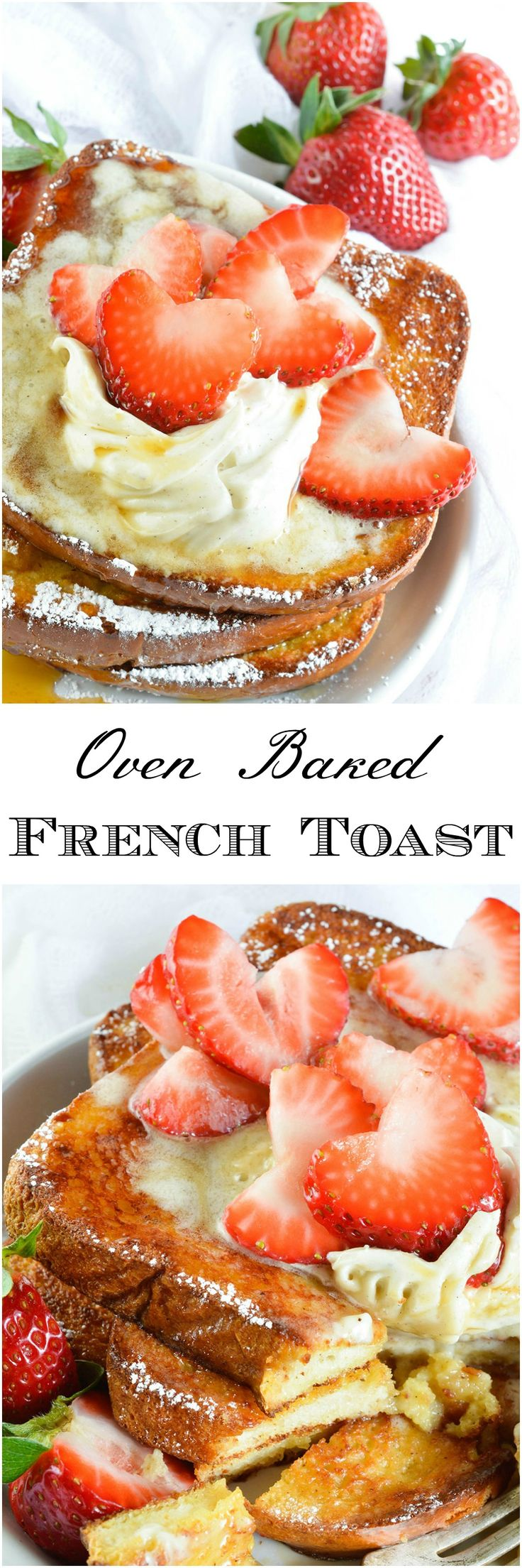 This Easy Baked French Toast Recipe is perfect for serving a crowd! Serve up this French Toast with Vanilla Mascarpone, Maple Syrup and Fresh Strawberries for the ultimate special occasion breakfast or brunch. #breakfast #brunch wonkywonderful.com
