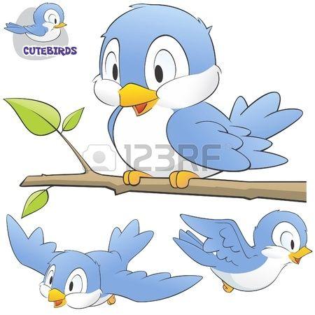 illustration d'un ensemble d'oiseaux mignons de bande dessinée.