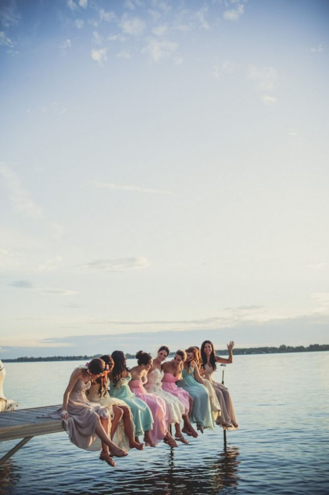Bridesmaids on the dock - 55 Ways to Get a Little Nautical on Your Wedding Day via Brit + Co.