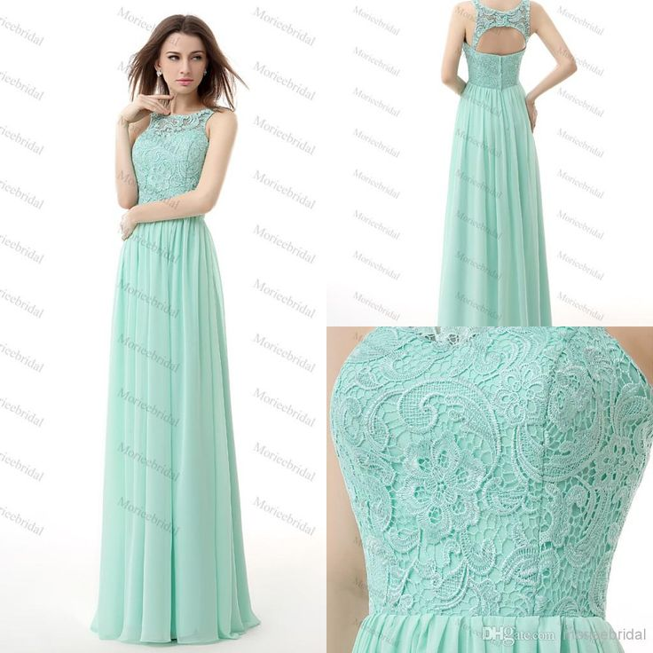 Wholesale Blue Evening Dress - Buy Real Image Mint Green Bridesmaid Dresses Jewel Lace And Chiffon Empire Long Maid Of Honor Dress Evening Formal Prom Gown In Stock US 2- 14, $53.41 | DHgate.com