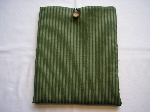 i-Pad Cover/Sleeve Green Stripe Cotton