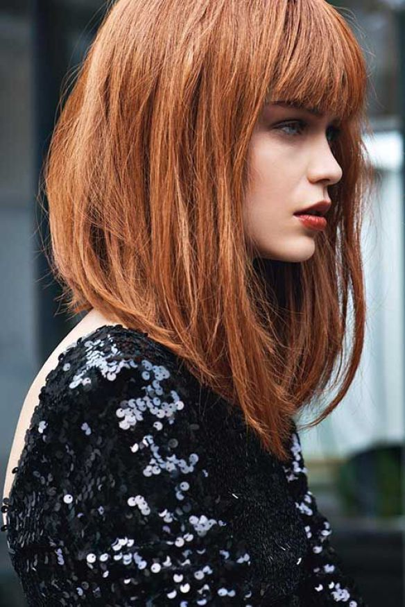 Inverted Lob with Bangs, bob haircuts for fine hair,inverted bob with bangs…