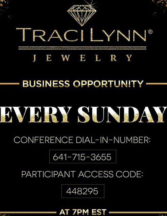 Be my guest on this weekly Business Opportunity Call. My Contact information is listed on my website  tracilynnjewelry.net/reneemaxim