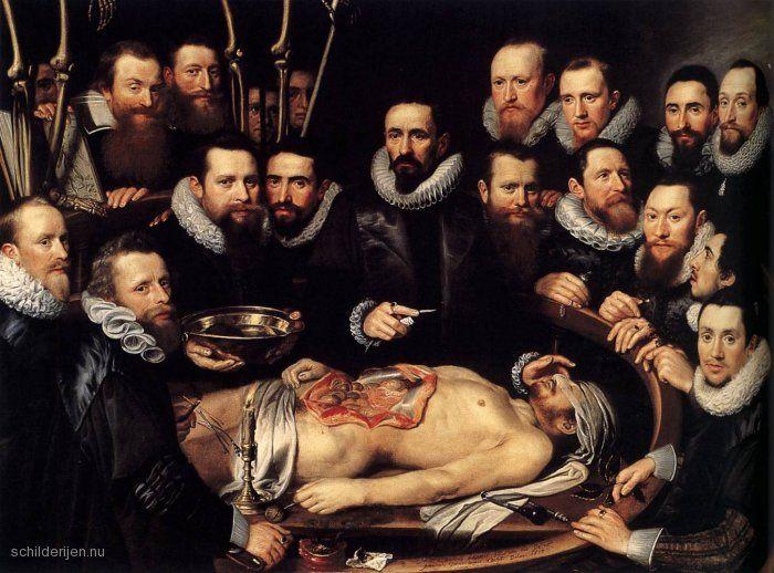 """Painting """"Anatomische les van Dr Willem van der Meer"""" by Michiel Jansz. van Miereveld - www.schilderijen.nu"""