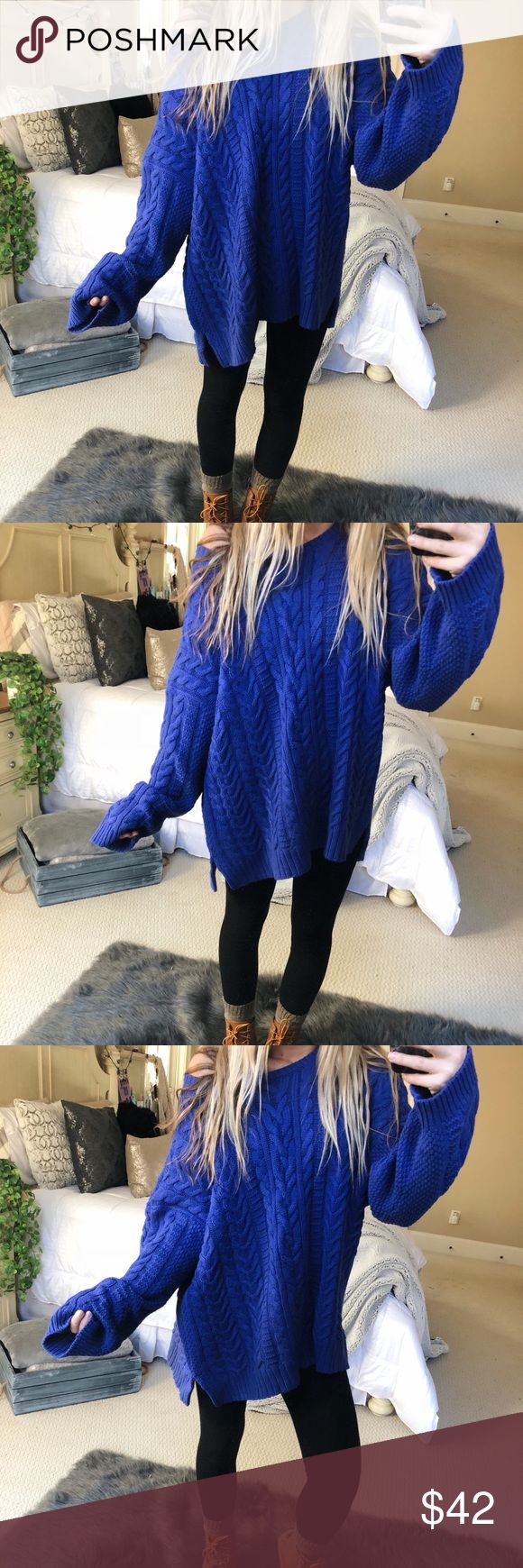 cobalt blue slouchy knit super gorgeous and cozy chunky cobalt blue slouchy knit sweater. fits a size medium or large 🦋🌲🌲☕️ — * all offers 100% welcomed + encouraged * bundle for a private discount of at least 20% off  * orders guaranteed to ship within 1-2 days unless stated otherwise * ask me any questions if you ever have any! xo Sweaters