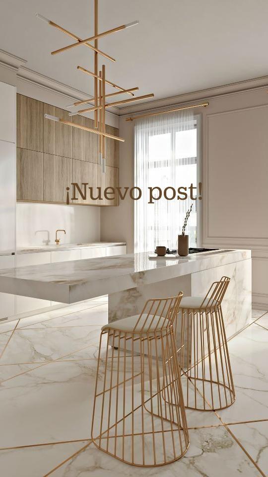 Minimalist Kitchen, Interior Design Tips, Dining Room Furniture, Kitchen Island, Stool, Marble, House, Blog, Ideas
