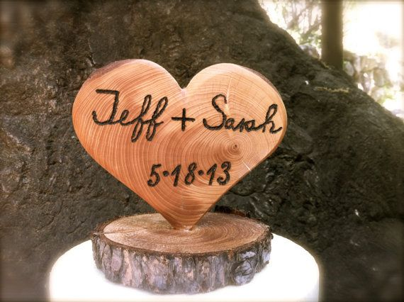 Rustic wedding cake topper wooden heart winter fall by MomoRadRose
