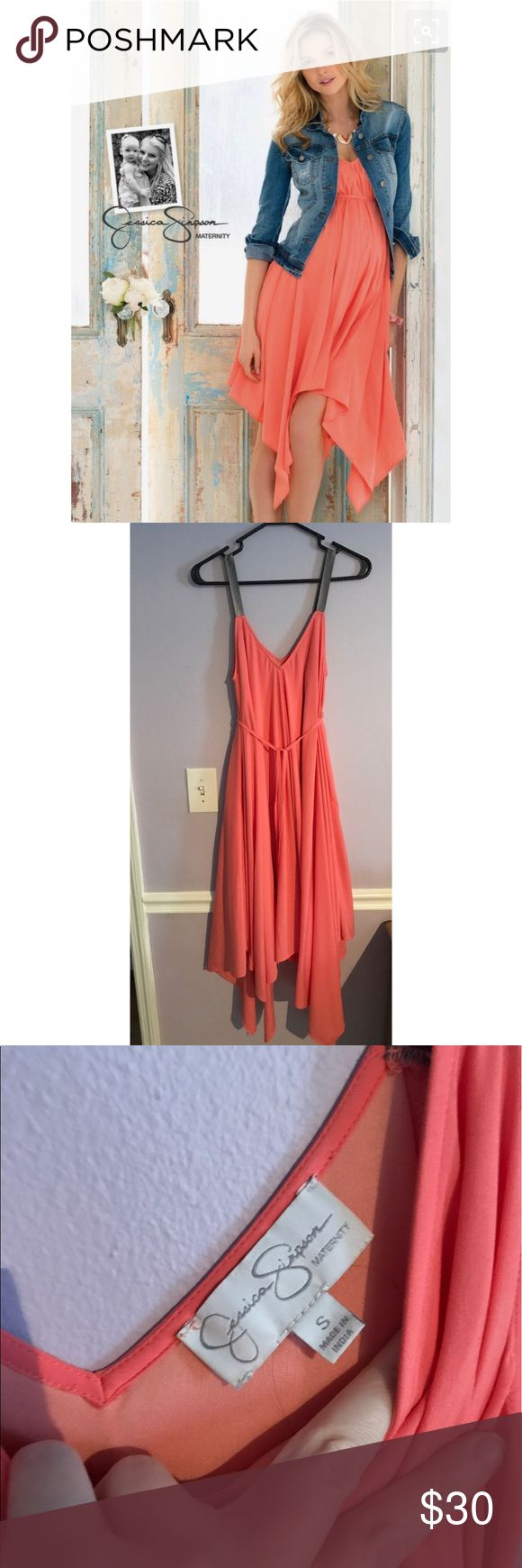 Jessica Simpson Maternity Dress Gorgeous coral with glimmering silver straps. Handkerchief style bottom. Jessica Simpson Dresses