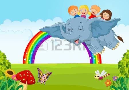 flores caricatura: Niño de dibujos animados sobre el arco iris
