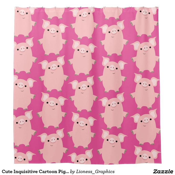 Cute Inquisitive Cartoon Pigs Shower Curtain   Zazzle.com ...