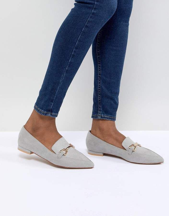 0945ff0085f ASOS DESIGN Lance Pointed Loafer Ballet Flats