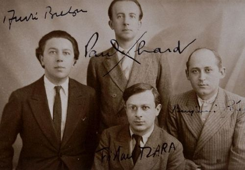 Surrealist poets Andre Breton, Paul Eluard, Tristan Tzara, and Benjamin Peret signed this photograph, taken in 1932. | Located in: Bibliotheque d'Art et d'Archeologie, Fondation Jacques Doucet, Paris, France.
