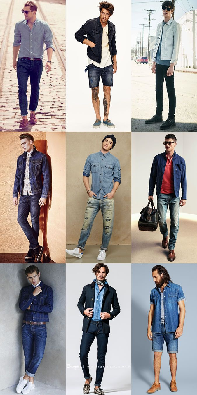 Keys Look For Spring/Summer Outfit Inspiration Lookbook - Double Denim - For a smarter take on the look, exchange your blazer for a sharply constructed denim jacket and wear it over a sky blue shirt and slim-fitting white jeans, finished with a pair of brown suede loafers. #menswear #howto