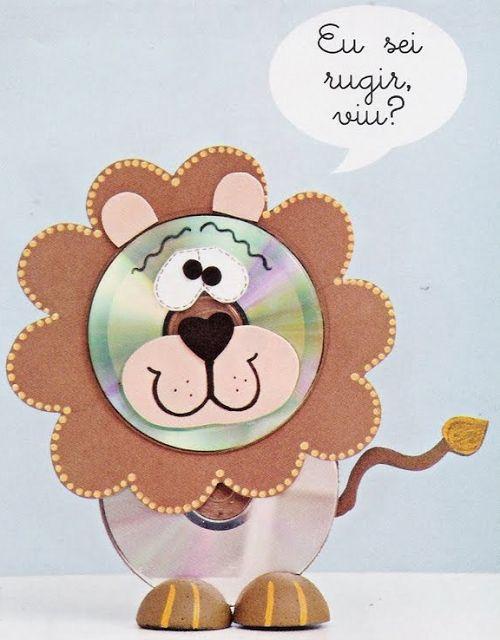 Super ! / Animais feitos com CDs reciclados - Pra Gente MiúdaGoma Eva, Brinquedos Reciclados, Bichinhos Feito, Crafts Ideas, Cds Reciclados, Cds Ideas, Cd Crafts, Kids, Crafts