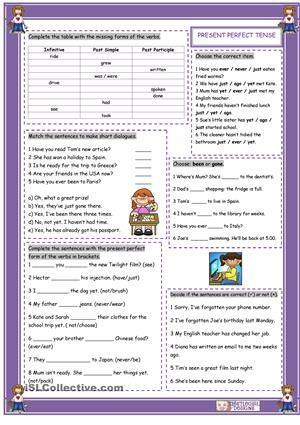 Grammar worksheet on practising the PPt with six exercises. - ESL worksheets