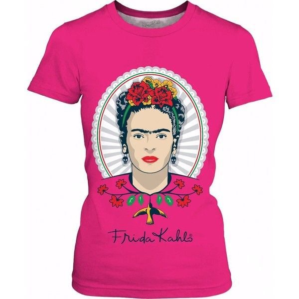 Frida Kahlo Pink Women's T-Shirt ($25) ❤ liked on Polyvore featuring tops, t-shirts, pink tee, pink t shirt and pink top
