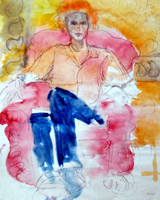 seated model watercolor and pencil