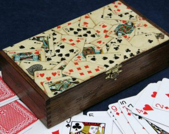 Playing Card Deck Storage Box, Keepsake Box, Repurposed Wooden Cigar Box. Decoupaged with Old Playing Cards (Box #60)