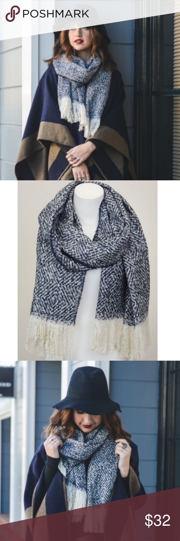 "Navy Tassel Scarf Diamond print navy blue  scarf with ivory tassle trim. Price firm unless bundled. No trades.  100% Acrylic Dimension 76""x23"" Accessories Scarves & Wraps"
