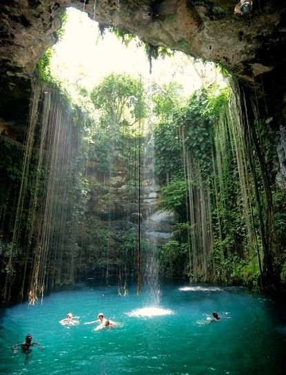 Secret blue cenote in the Ik-Kil park  in Mexico. It's open daily to swim, dive, snorkel in the crystal blue water. (And the entry is only $3).