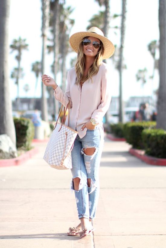 spring outfit, summer outfit, casual outfit, comfy outfit, beach outfit, vacations outfit - straw hat, pale pink shirt, blush shirt, blush blouse, distressed boyfriend jeans, nude sandals, nude flip flops, white tote, pink aviator sunglasses