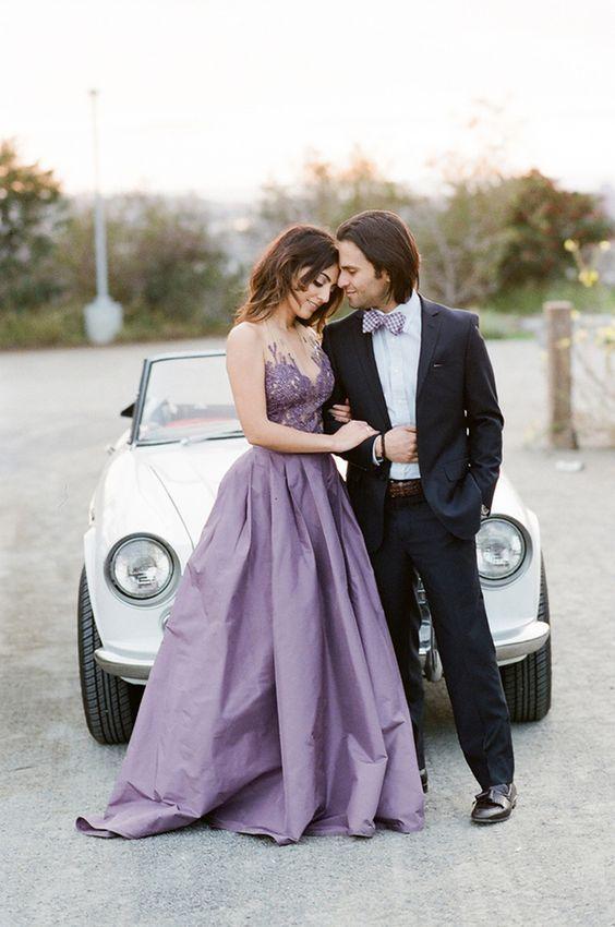purple aline wedding dress - Deer Pearl Flowers / http://www.deerpearlflowers.com/wedding-dress-inspiration/purple-aline-wedding-dress/