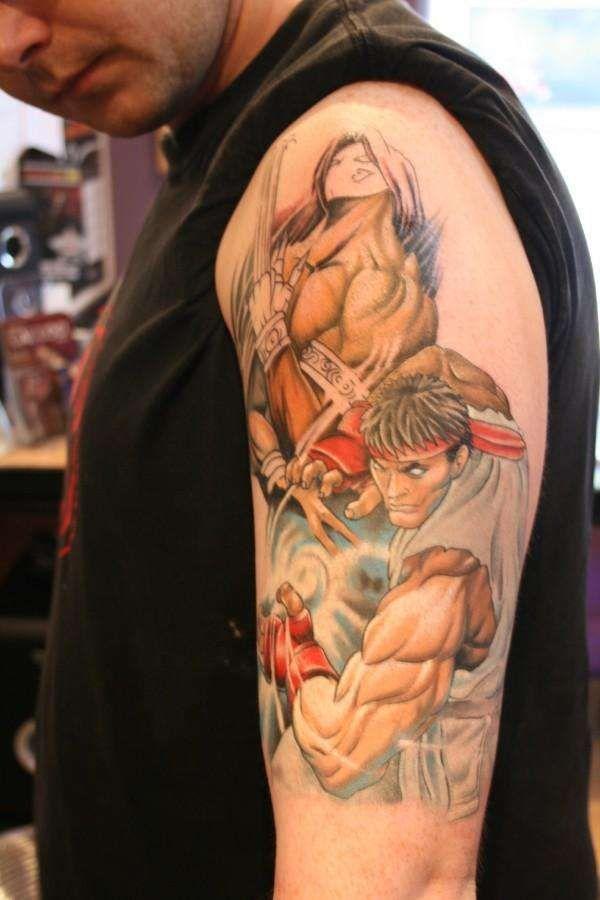 Tatuagem De Ryu E Vega Em Street Fighter 4 Gaming Tattoo Video