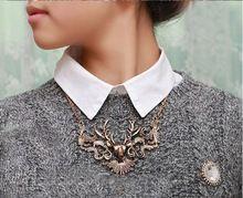 SKU2061 Europese en Amerikaanse mode element herstellen oude manieren grote moose herten hoofd nep kraag trui collier(China)