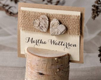 rustic place card holder with place card birch wedding escort card with holder rustic
