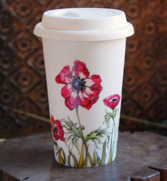 hand painted ceramic travel mug