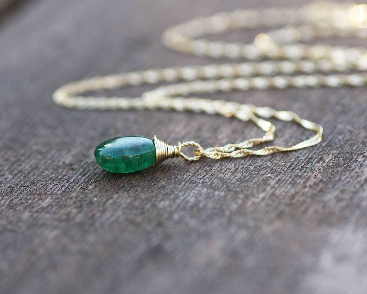 Tiny Natural Zambian Emerald Briolette Pendant in Solid 14K Yellow Gold , May Birthstone , 20th 55th Anniversary , Healing Gem  , Wire Wrap by JuJuBeJewels on Etsy