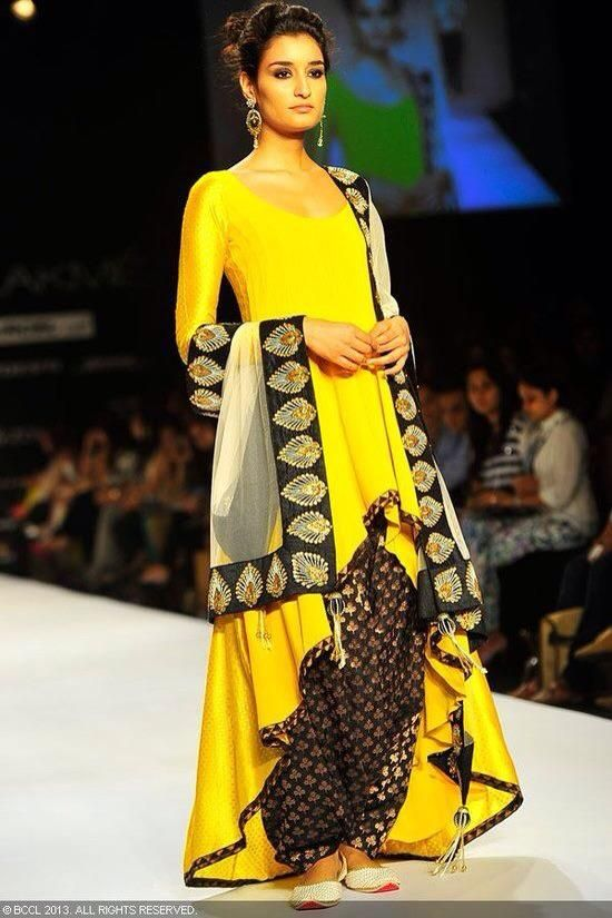 Pakistani couture, yellow and black