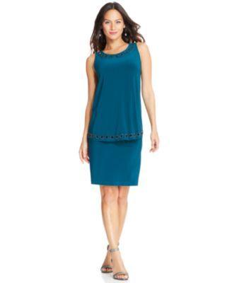 77 Patra Sleeveless Bead Trim Overlay Dress
