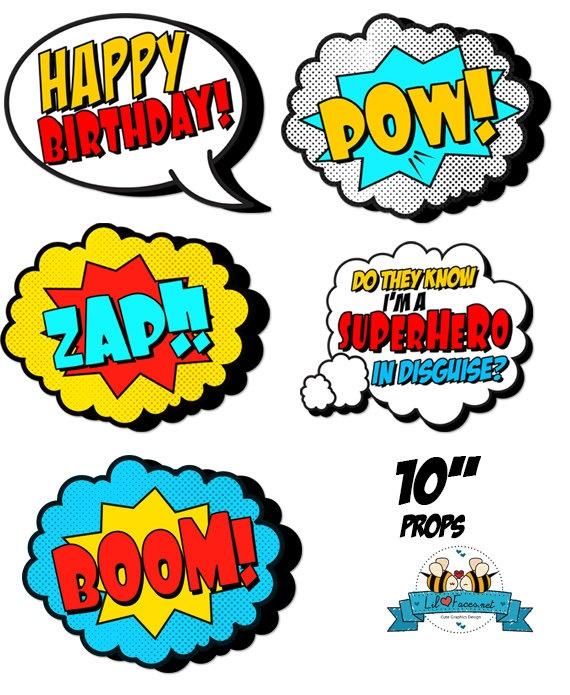 POP ART SuperHero Photo Booth Props Super by LilFacesPrintables