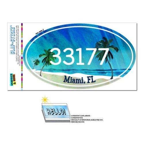 33177 Miami, FL - Tropical Beach - Oval Zip Code Sticker