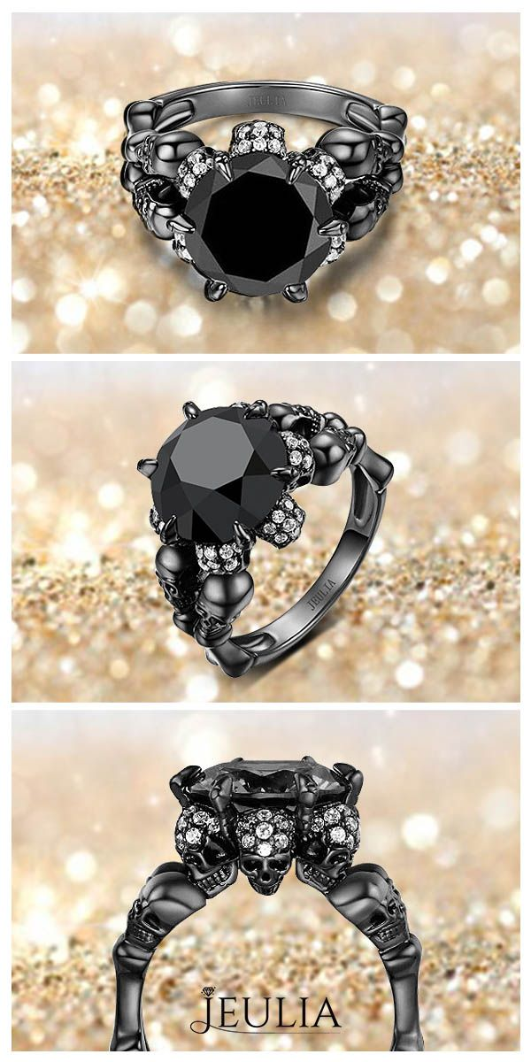 Four-Skull Design 5.0CT Round Cut Black Diamond Rhodium Plated Sterling Silver Skull Ring