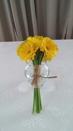 Yellow gerberas posy wedding bouquet