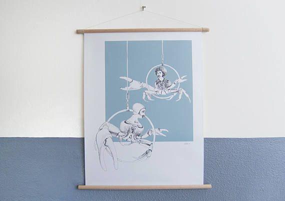 canvas poster Crab Circus XL kunst voor aan de muur zwart