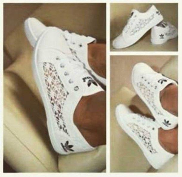 shoes adidas dentelle white blanc chaussures basket socks adidas blanc avec dentelle