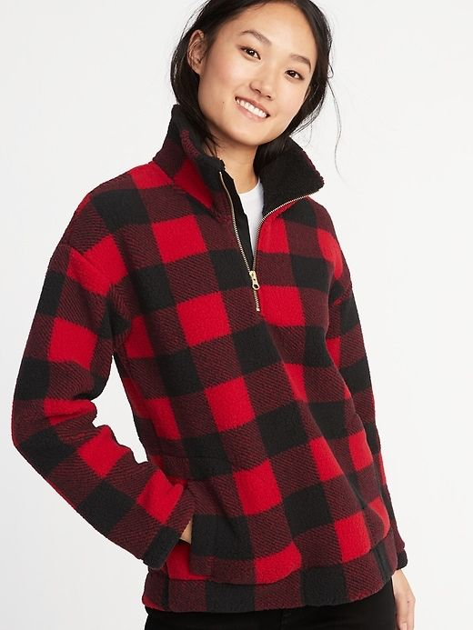 d48962d86c917 Old Navy red buffalo plaid sherpa