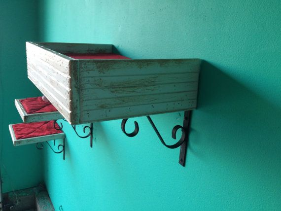 Set of 3: Two Reclaimed Wood Cat Shelves and One Cat Bed on Etsy, $98.36 CAD. Might try to make it myself one day